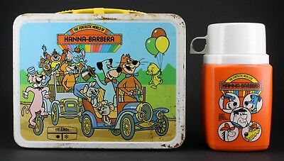 Vintage 1977 The Fantastic World Of Hanna Barbera Metal Lunch Box & Thermos