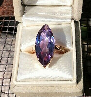 Vintage 1930's era Synthetic ** ALEXANDRITE **  Sapphire Ring 18K Gold 10 carats