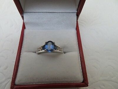 10k TNL ? Blue Stone Diamond Accent White Gold Ring Pre-Owned Size 6.5 In Box