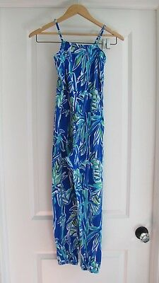 EUC Girl's Royal Blue Print LILLY PULITZER Jumpsuit Size 8-10