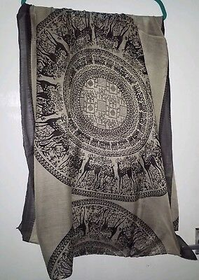 Beige And Black Long Cotton Scarf Mandela Animal Pattern New