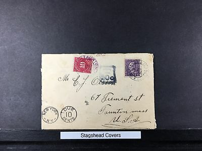 Sweden Cover 1944? 15O Coil single POSTAGE DUE T 50c, NY Due 10c, 10c US Postage