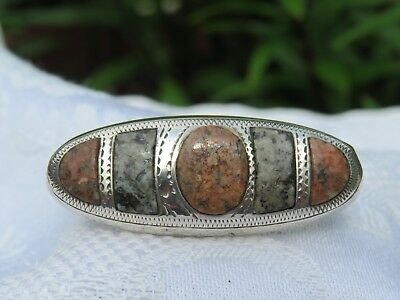 Victorian / Edwardian Silver And Hardstone Brooch Good Condition