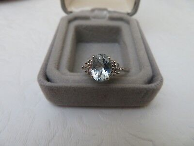 10k Aquamarine Stone Diamond Accents White Gold Ring PreOwned Size 6.5 Oval Shap