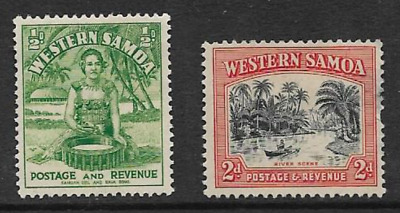 Western Samoa Postage Issue, 2 Mint Definitive 1935 Stamps, Local Motifs