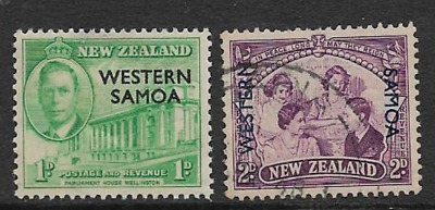 Western Samoa Postage Issue, 2 Used Definitive 1946 Stamps, Overprint On Nz