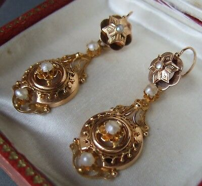 Antique French Victorian 18ct Gold Fine Pearls large Pendant Dormeuses Earrings