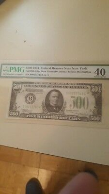 United States 1934 $500 Federal reserve note PMG40 nice looking note.