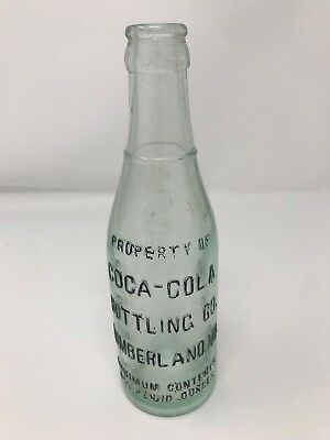 Coca Cola Cumberland Maryland Straight Side Green Bottle Embossed Block Letters
