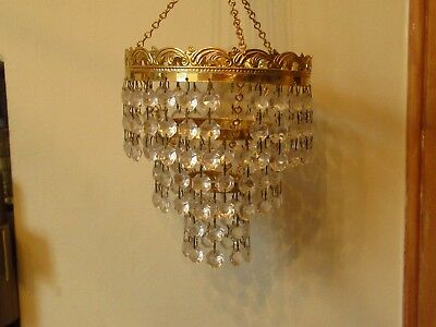 Matching Pair Of Vintage Glass And Gilded Brass Small Chandeliers