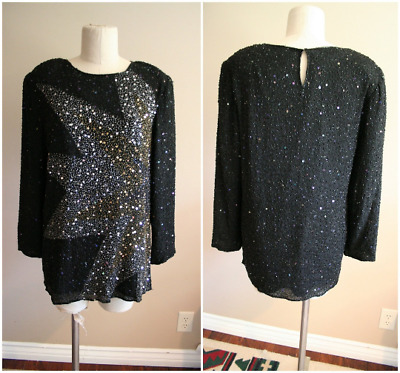 Vintage Beaded Sequin Long Sleeve Shirt - Size Large