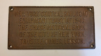 NY Central Railroad Vintage Equipment Trust 1946 Chase Nat'l Bank Iron Sign