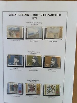 Gb Commemorative Stamp Sets 1971-1975 Mounted Mint & Used On Leaves