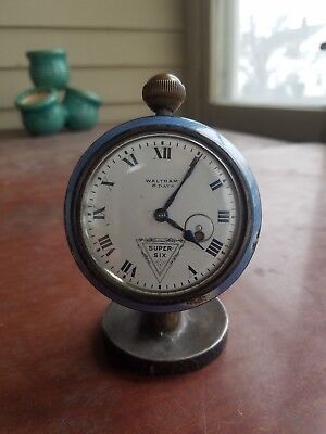 Waltham 8 day Hudson Super Six automobile car clock W/STAND for parts or repair