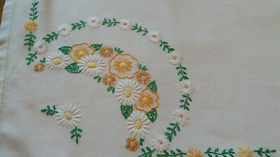 Vintage Hand Embroidered Tablecloth.floral.