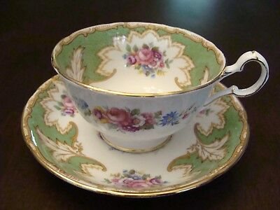 Royal Grafton Cup and Saucer Academy Pattern Green with Multi-Colored Florals