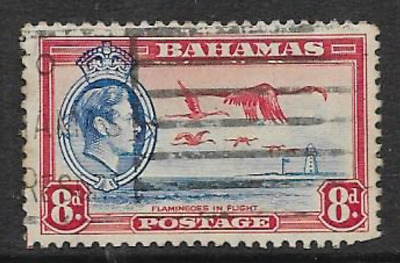 BAHAMAS ISSUE, USED STAMP 1938 - KGV1 DEFINITIVE - FLAMINGO IN FLIGHT - 8d