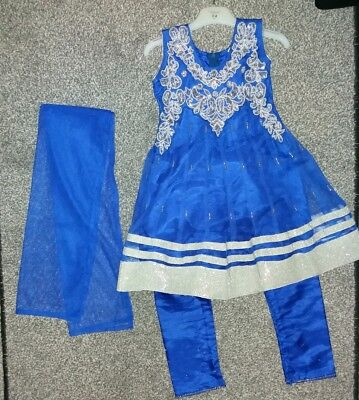 Girls Children Punjabi Frock suit Indian Trousers Blue Silver Pajami 2 - 4 Years