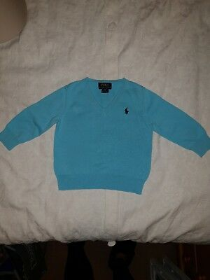 Baby Boy Child Age 18 Month Old Polo Ralph Lauren Pale turquoise V-Neck Jumper