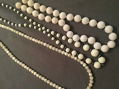 Vintage White Glass beaded Necklace LOT 3 PCS Strand String Beaded Lot 16.59