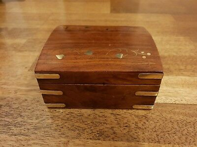 Stunning Antique Mahogany or Oak Wooden Box with Brass inlay stunning piece