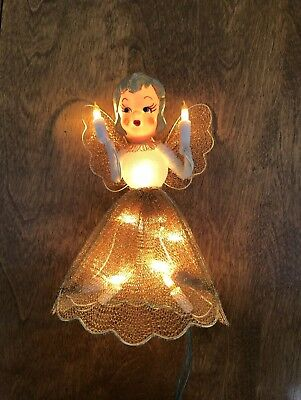 """Vintage 7""""  light Up ANGEL Christmas Tree Topper~Gold Wire Mesh Dress & Wings"""
