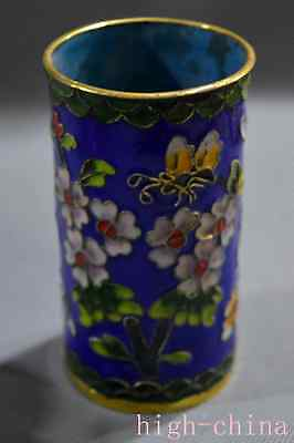 Collectable Cloisonne Paint Flower Ancient King Use Chinese Special Brush Pot
