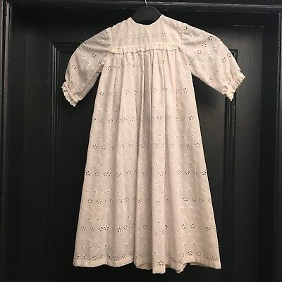 Vintage Cotton Embroidery Anglaise Christening Gown / Girls Dress & Bonnet