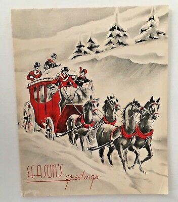 Victorian Christmas Card Horse & Carriage Red, Black & White Card 1930's- 40's
