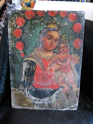 Original Antique Retablo On Tin Our Lady Of Refuge 9 1/4'' By 13 1/4''