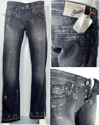 Guess women's jeans new black stone washed mod Slauson  rp £ 110