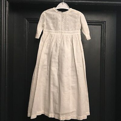 Victorian Cotton Fine Linen Enbroidery Anglaise Christening Gown Nightdress