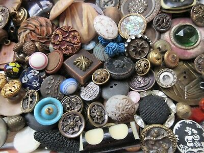 Buttons Vintage And Antique Collectibles From Estate Metal Glass Pearl Lot 1