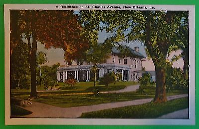 St. Charles Ave Residence-New Orleans, LA-Town View-Antique VTG Pre-30 Postcard