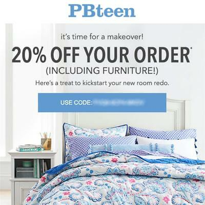 20% off POTTERY BARN TEEN promo coupon code onIine Exp 12/24/18 pbteen 10 15
