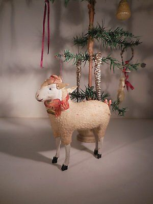 AAFA Large German Putz Stick Leg Sheep Antique Woolly Sheep with Flyaway Ears