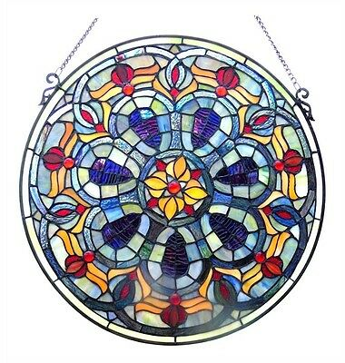 """Handcrafted 20"""" Diameter Round Victorian Design Stained Glass Window Panel"""
