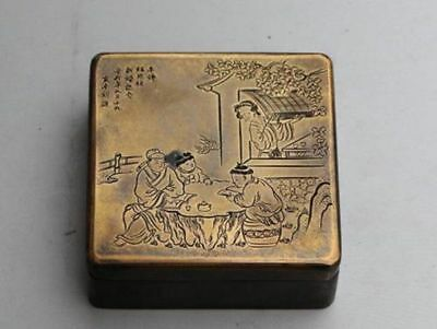 Collection Old Chinese Hand-carved designs square old copper ink box