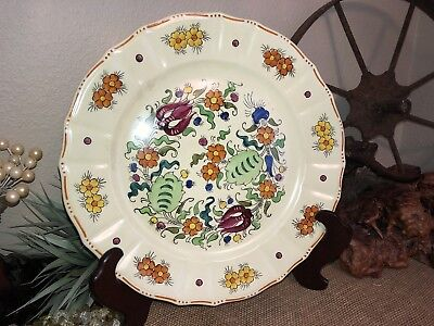VINTAGE MIKORI Ware Japan Large ROUND SERVING PLATTER HAND PAINTED FLORAL 14""