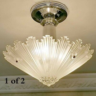 409b Vintage arT Deco Ceiling Light Lamp Fixture Glass Re-Wired 1 of 3
