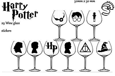 Harry Potter 8 Vinyl Decal sticker Wine Glass Decals Gloss Decal Kids Lunch Box