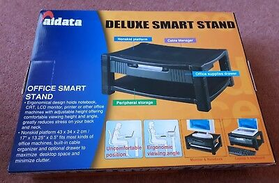 Aidata Office Smart Stand Deluxe PC Laptop Computer Monitor Printer Riser Drawer