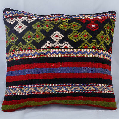 Turkish Kilim Rug Throw Pillow Cover Cushion Cover 16''x16'' Nomad Vintage Kelim
