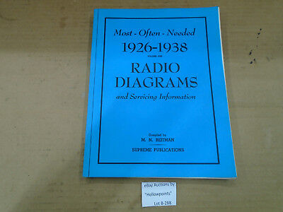 B288 Radio Book titled Most Often Needed 1926-1938 Radio Diagrams and Servicing
