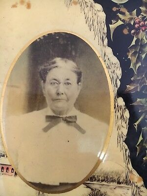 Antique Victorian Old Round Tin Photo Grandma in Glasses Christmas Decor Scene