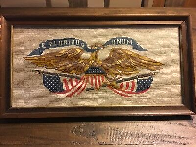 Needlepoint Wood Framed With Glass Rectangular USA American Eagle Shield Flag