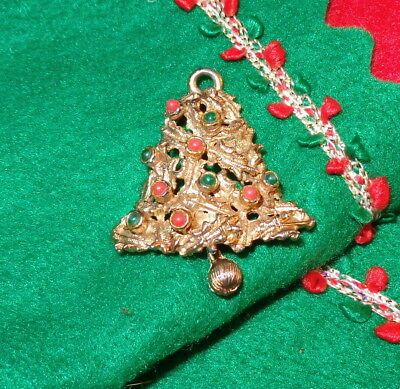 FeSTiVE VINTAGE Signed CHRISTMAS BELL Articulated CHRISTMAS TREE PENDANT by LJM