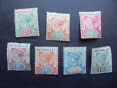 British Seychelles Stamps 1890-1900 QV,# 1a,2,4a,6a,7a,9,12,Mint most hinged