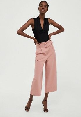 e542429b Zara Pink Wide Leg Culottes Trousers With Belt Size Extra Small XS New