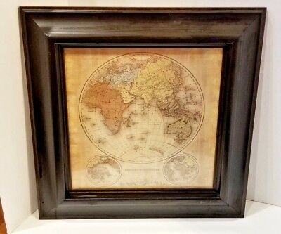 "17"" picture Michelle Katz Eastern Hemisphere old world framed map stunning +"